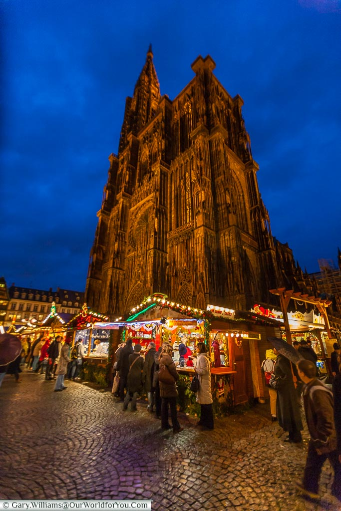 In view of the Catherdral, Christmas, Strasbourg, France