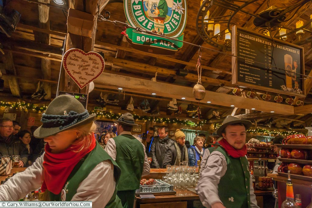 Inside the alpen lodge at the Christmas Markets, Cologne, Germany