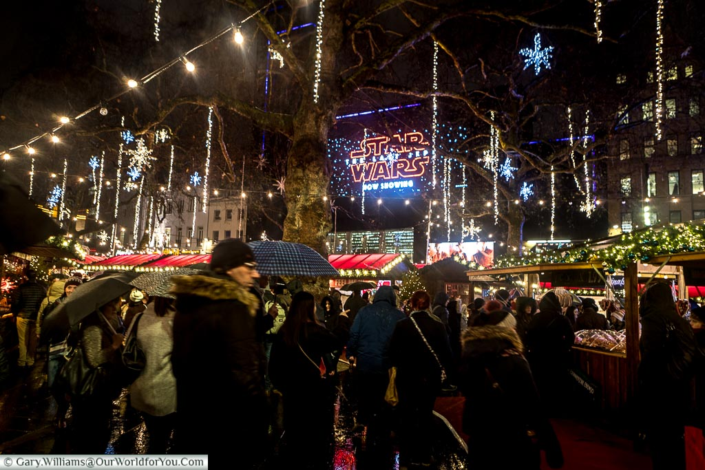 Leicester Square at Christmas, London, England, UK