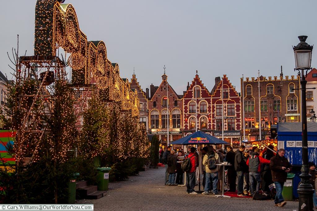 Christmas market stalls, Bruges, Belgium