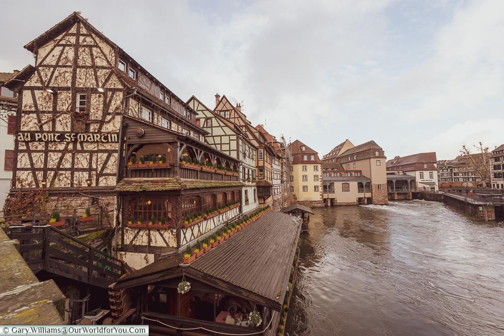 The view from Pont Saint-Martin over the canals of Petite France, framed by the half-timber buildings typical of this part of Strasbourg.