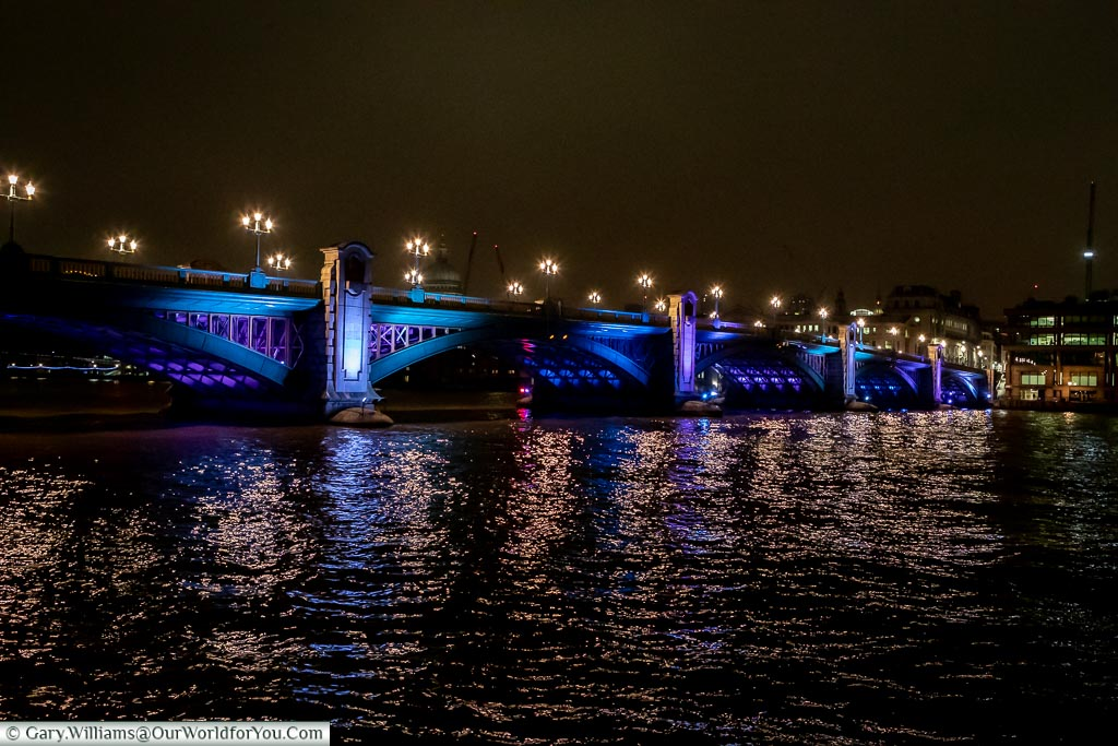 Southwark bridge, London at Christmas, UK