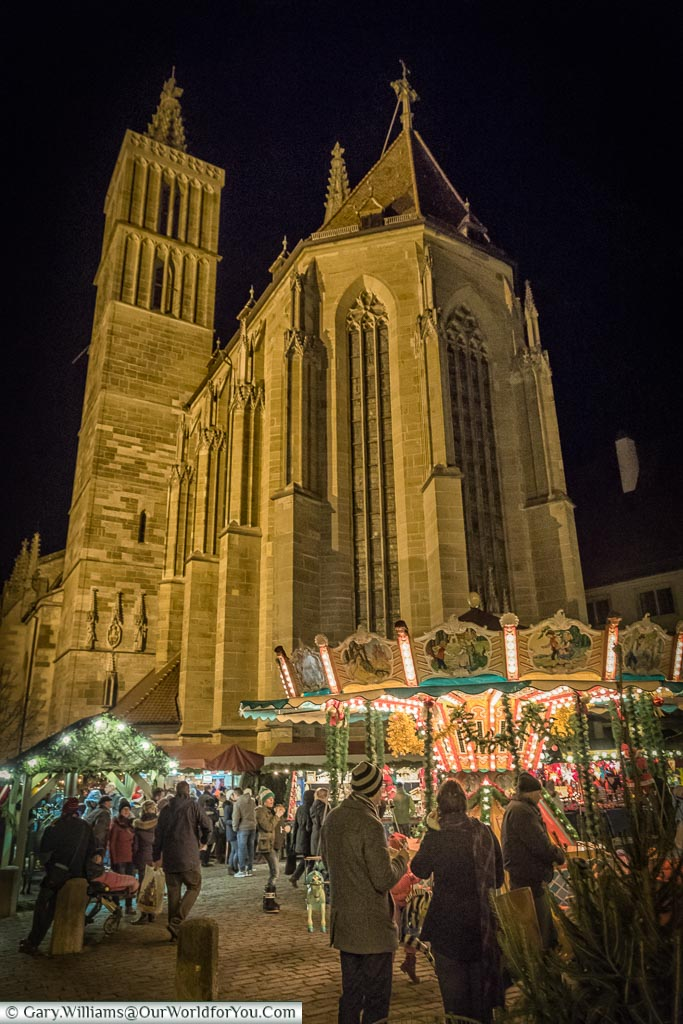 St Jakob's church and the carousel, Rothenburg ob der Tauber, Germany
