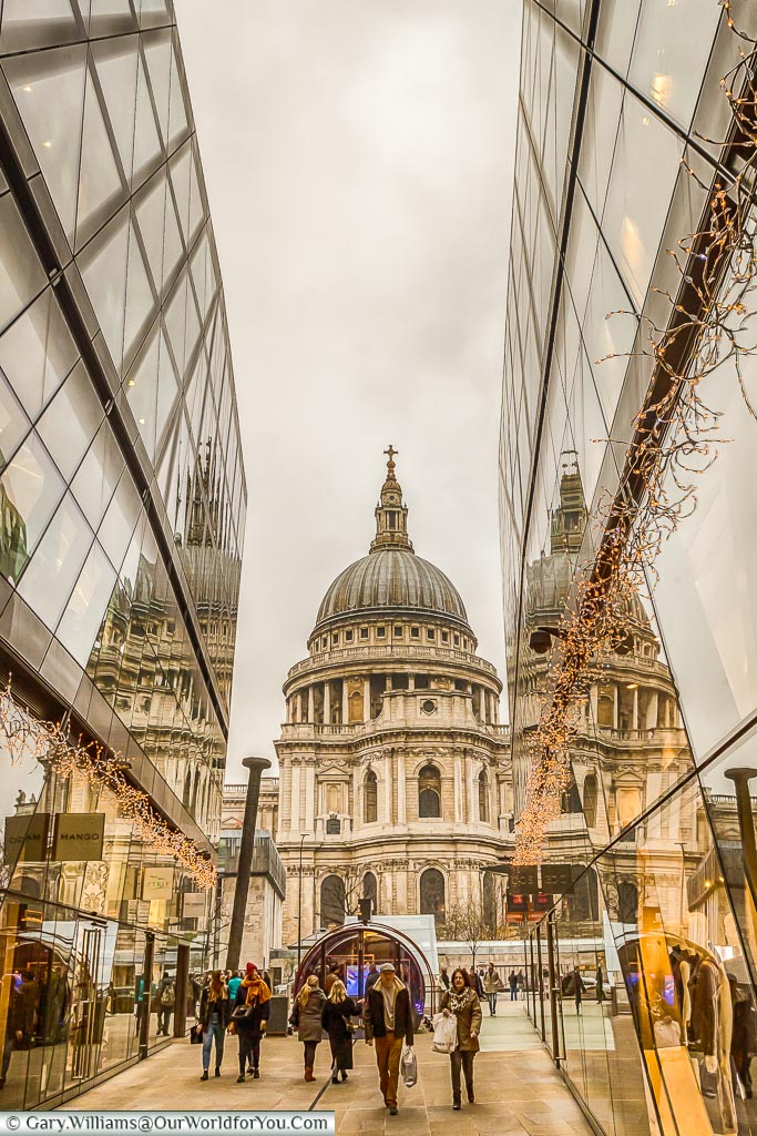 St Paul's Cathedral from One New Change, London at Christmas, UK