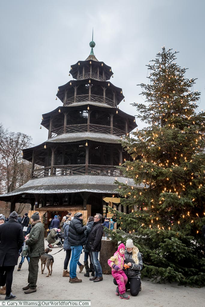 The Chinese Tower at Christmas, Munich, Germany
