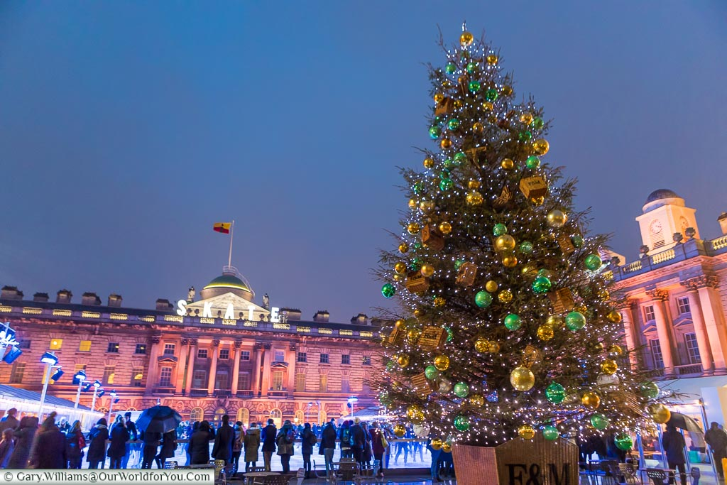 The Christmas Tree in front of Somerset House, Christmas, London, England, UK
