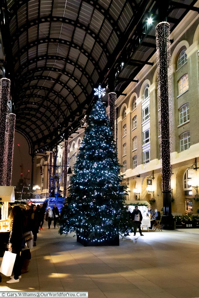 The Christmas tree in Hays Galleria, London at Christmas, UK