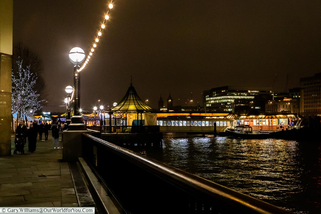 The London Bridge City Pier, London at Christmas, UK