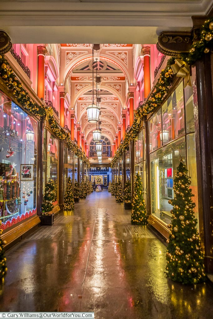 The Royal Arcade at Christmas, London, England, UK