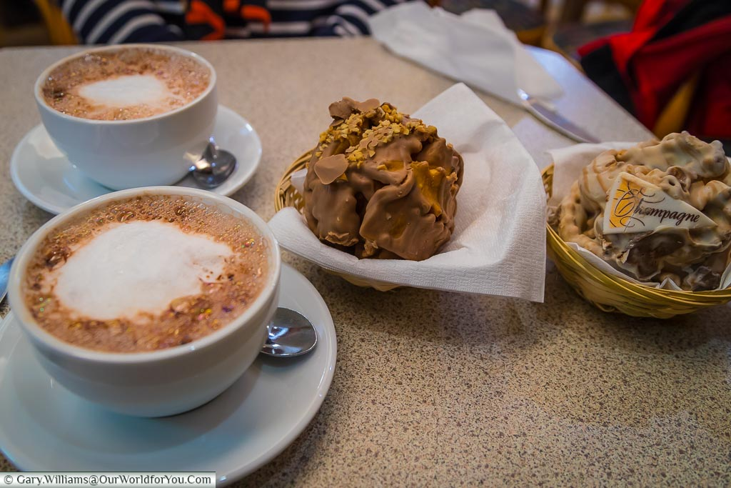 The Schneeball and hot chocolate, Rothenburg ob der Tauber, Germany