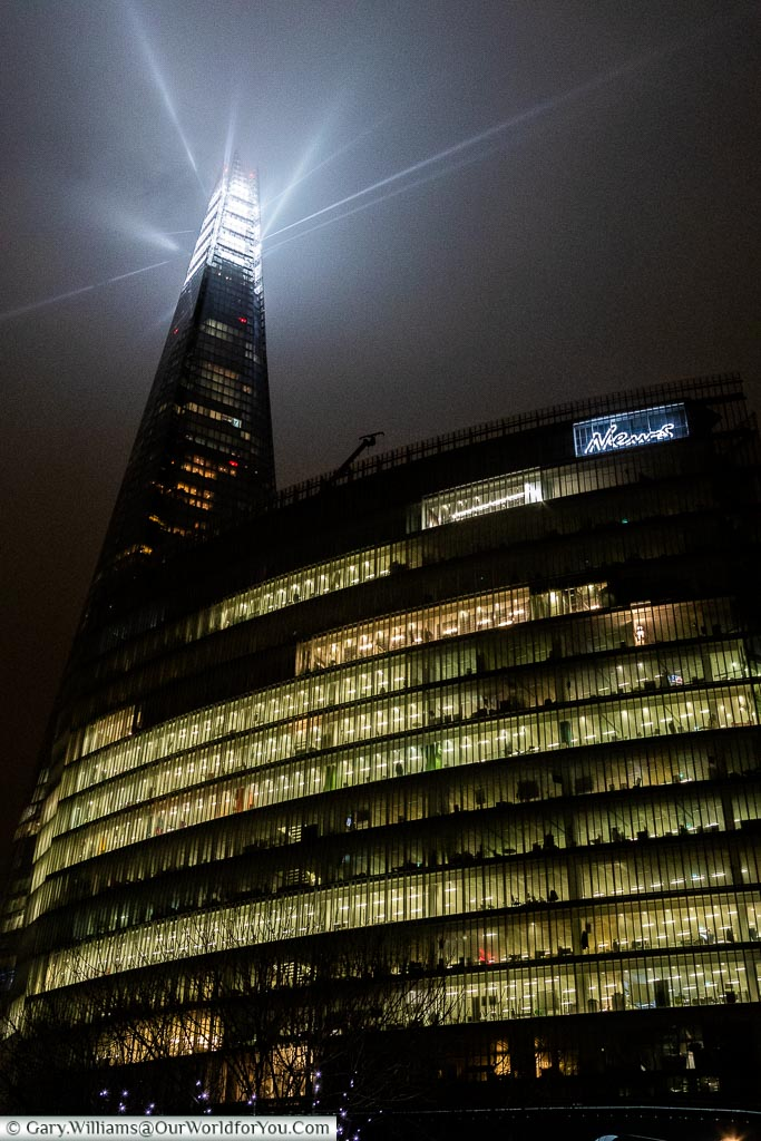The Shard light display, London at Christmas, UK
