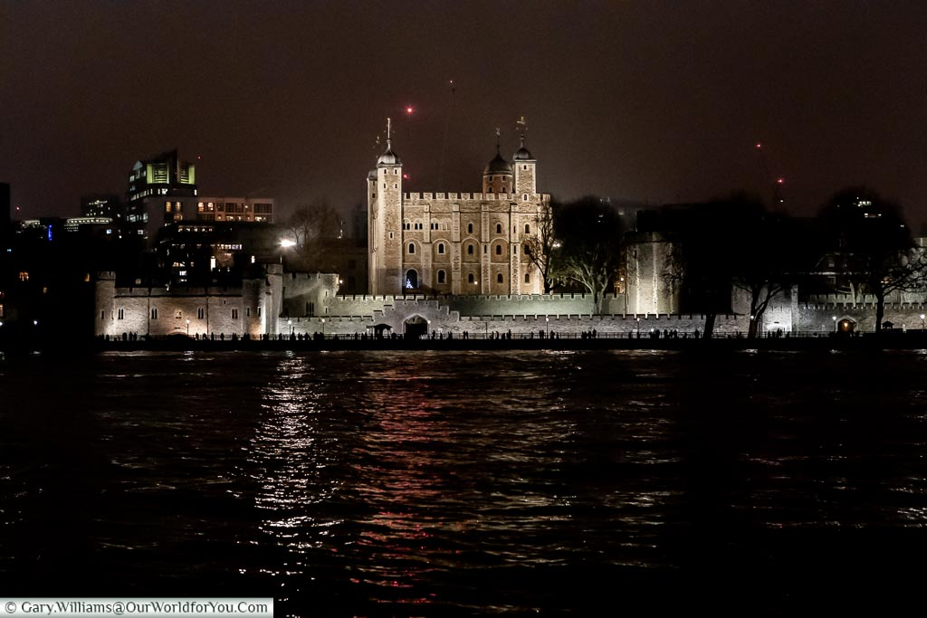 The Tower of London at night, London at Christmas, UK