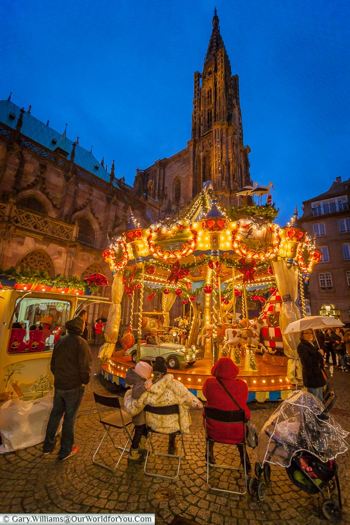 The carousel at the Christmas market, Strasbourg, France