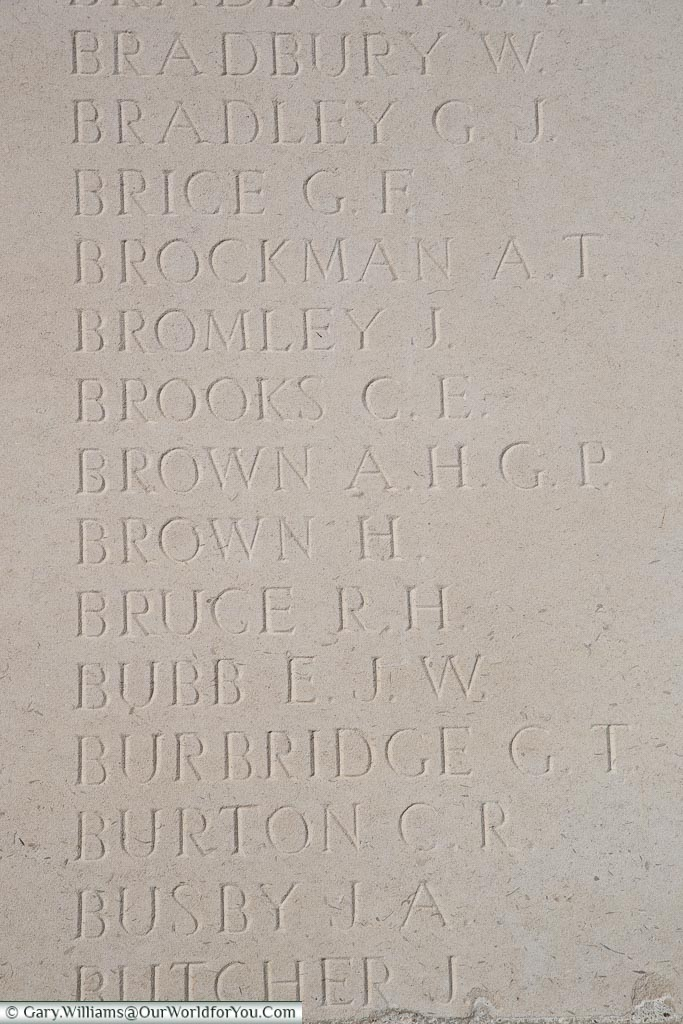 The memorial to Alfred Henry George Phillip Brown, Loos Memorial, France