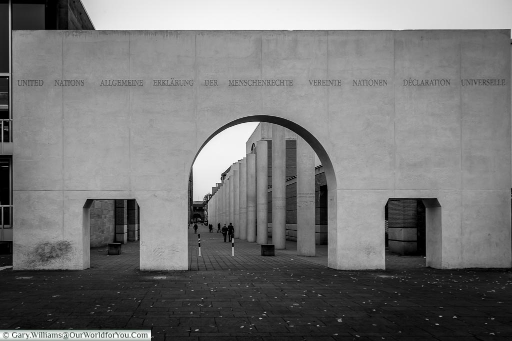 The north gate of the Way of Human Rights, Nuremberg, Germany