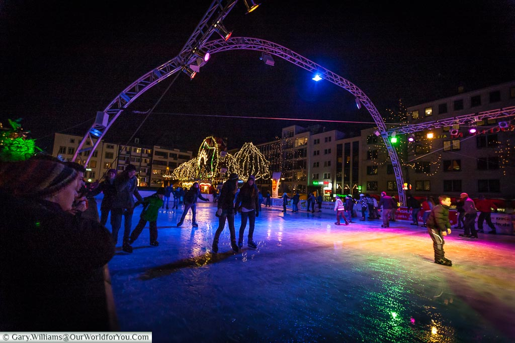 The old ice rink at the Christmas Markets, Cologne, Germany