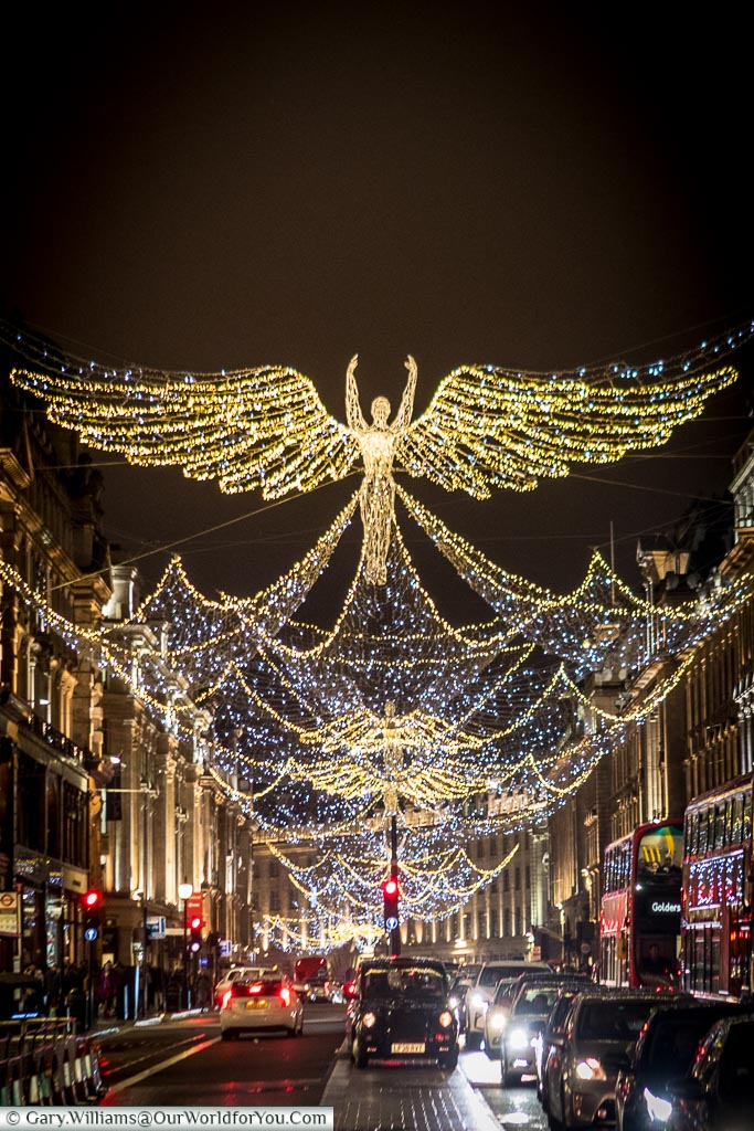 The view down Regent Street, Christmas, London, England, UK
