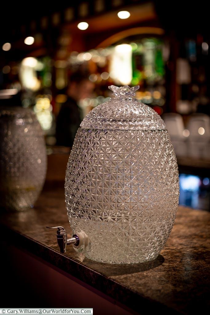 The water urns on the bar, Tower Ballroom, Blackpool, Lancashire, England, UK