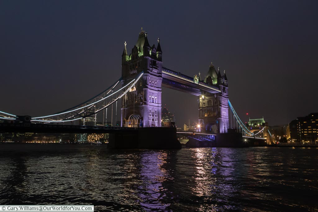 Tower Bridge at night, London at Christmas, UK
