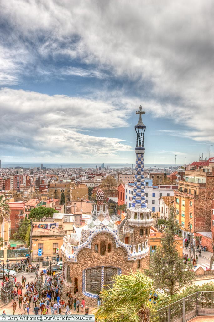 View over Porters Lodge, Park Güell, Barcelona, Spain