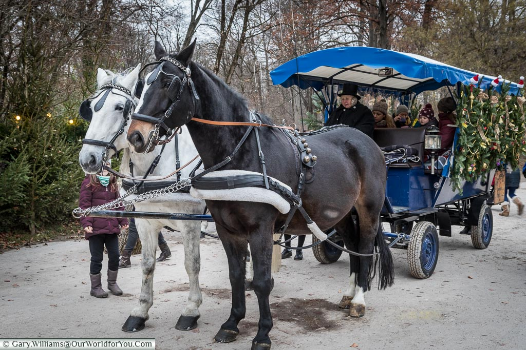 Two horses are pulling a small wooden carriage with tourists in Munich's park market.