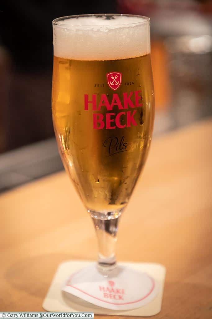 A cool glass of Haake Beck, Bremen, German Christmas Markets, Germany