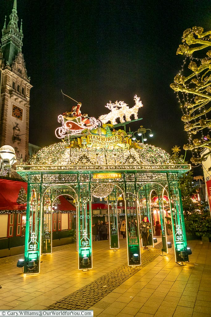 An entrance to Rathaus Market, Hamburg German Christmas Markets, Germany