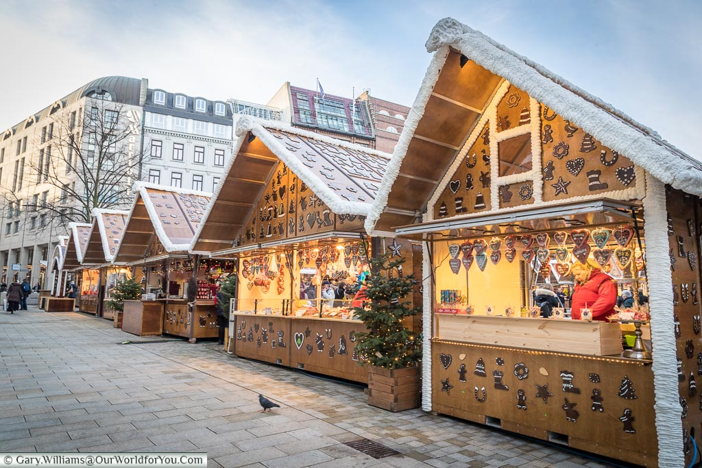 Gingerbread House huts, Hamburg German Christmas Markets, Germany