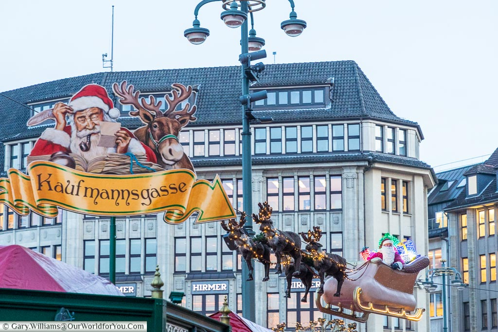 Santa and his reindeer, Hamburg German Christmas Markets, Germany