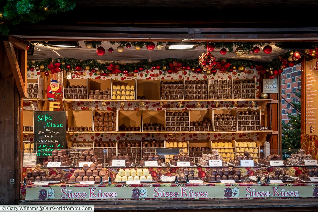 Stall of chocolate kisses, Hamburg German Christmas Markets, Germany