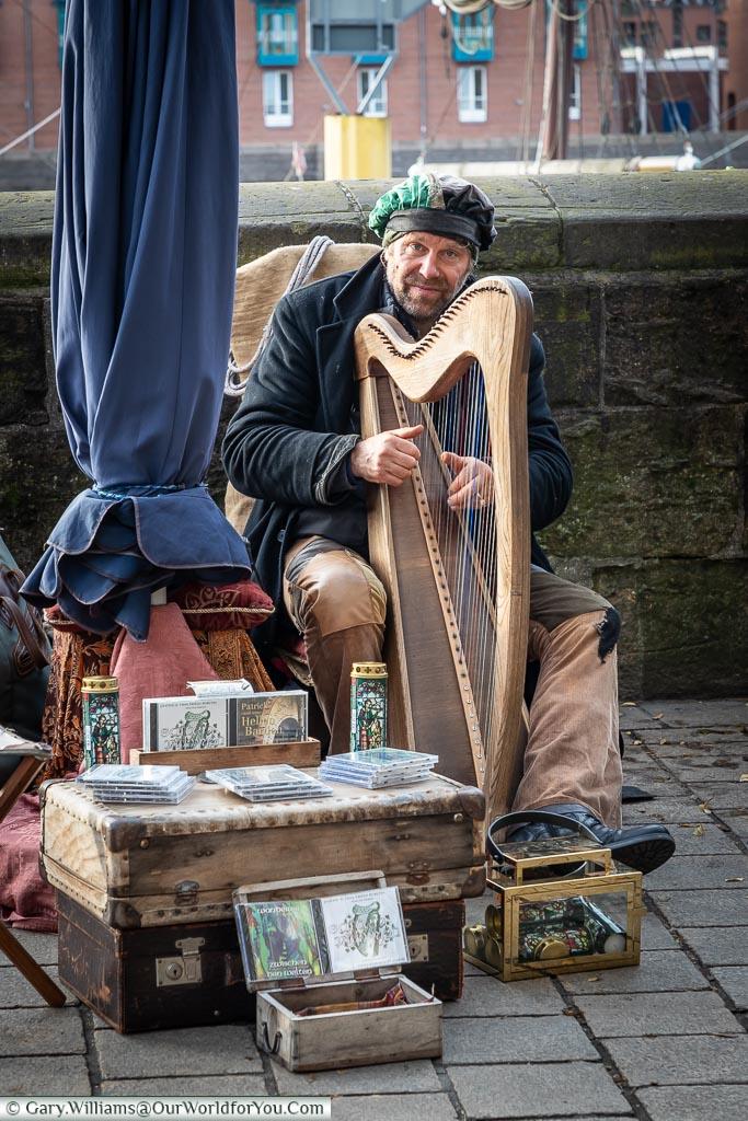 The Harpist, Bremen, German Christmas Markets, Germany