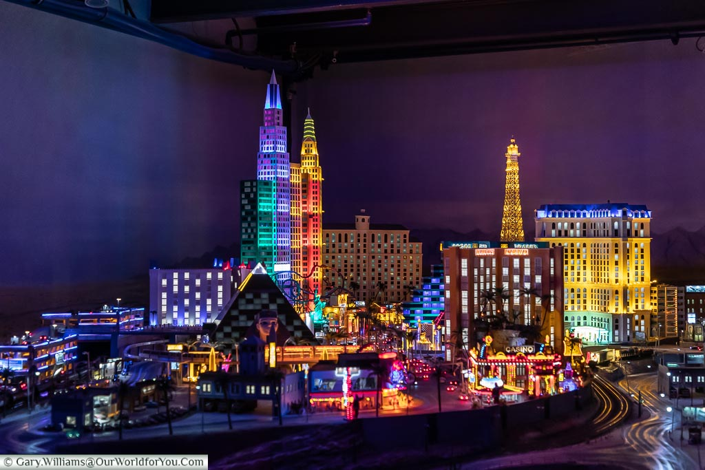 Vegas at night in the Model World, Hamburg German Christmas Markets, Germany