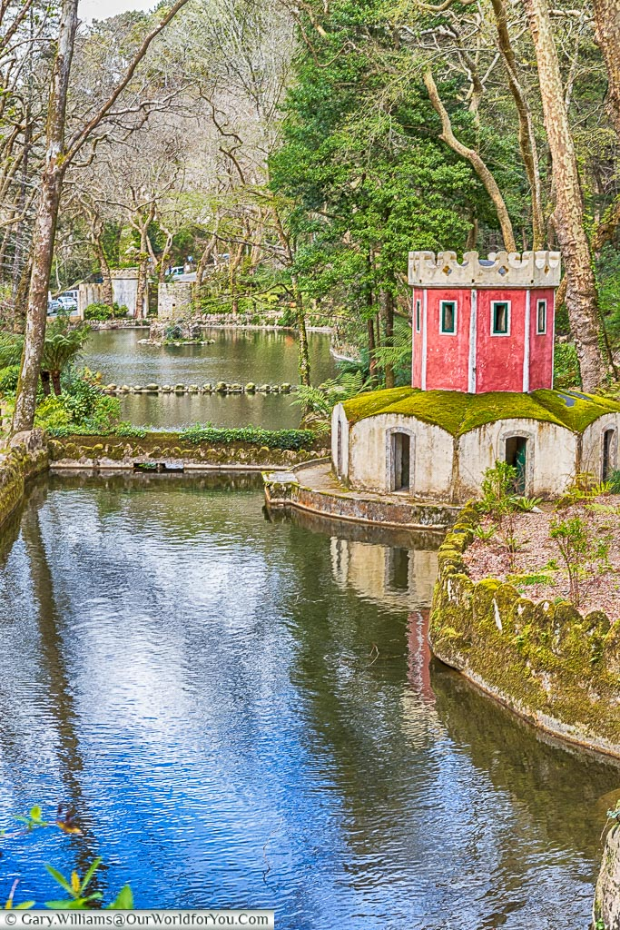 A duck house in the gardens of the Palace of Pena, Sintra, Portugal