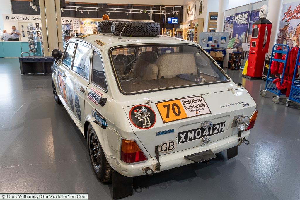 A rally prep Austin Maxi, British Motor Museum, Warwickshire, England, UK