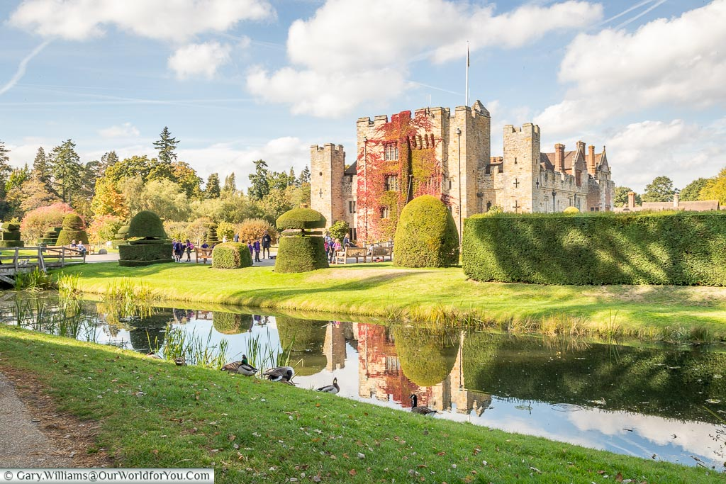 A view from across the second moat, Hever Castle, Kent, England