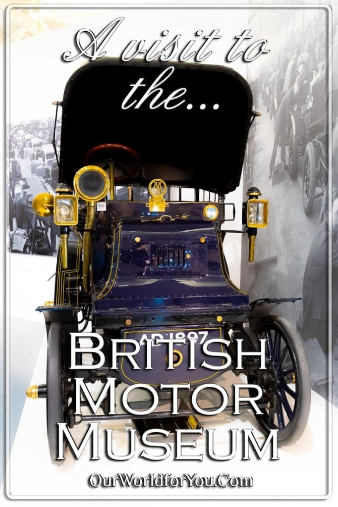 The Pin Image for our post - 'A visit to the British Motor Museum'
