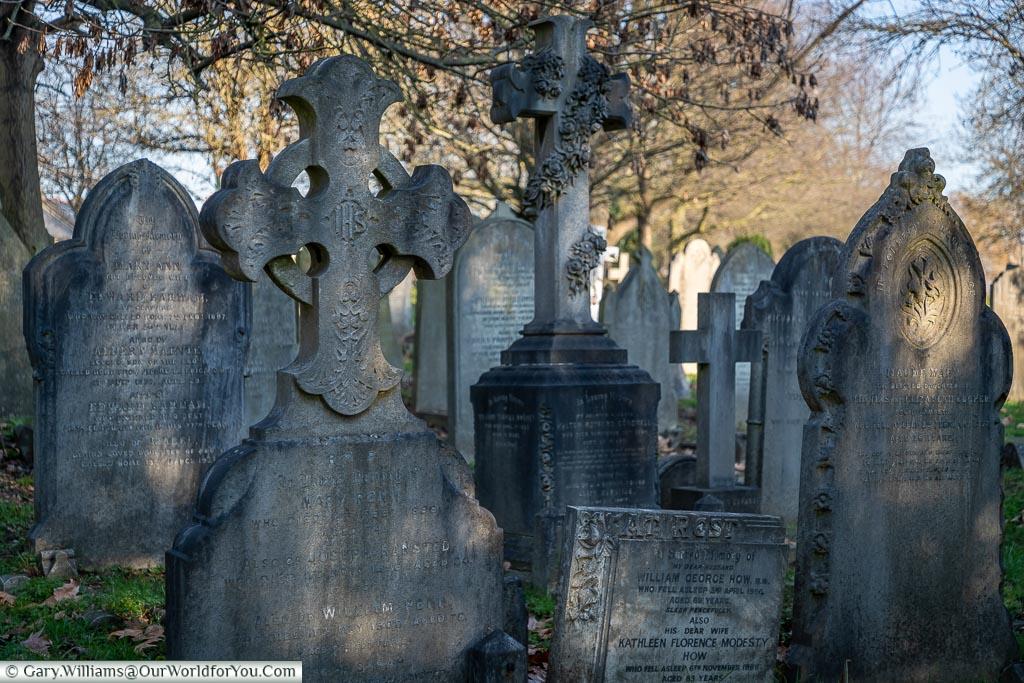 Old headstones in West Norwood Cemetery, London