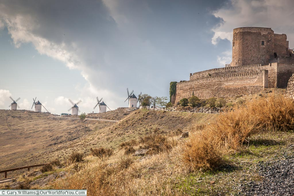 The Castle & five windmills, Consuegra, La Mancha, Spain