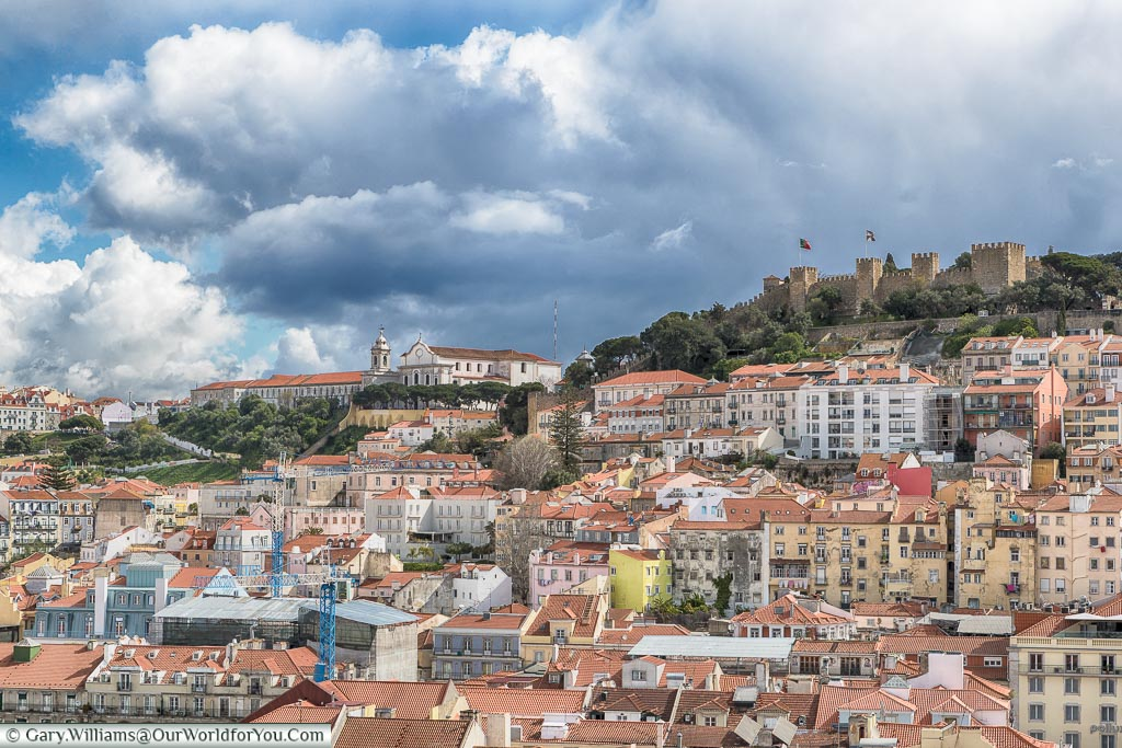 The castle from the top of the Elevador de Santa Justa, Lisbon, Portugal