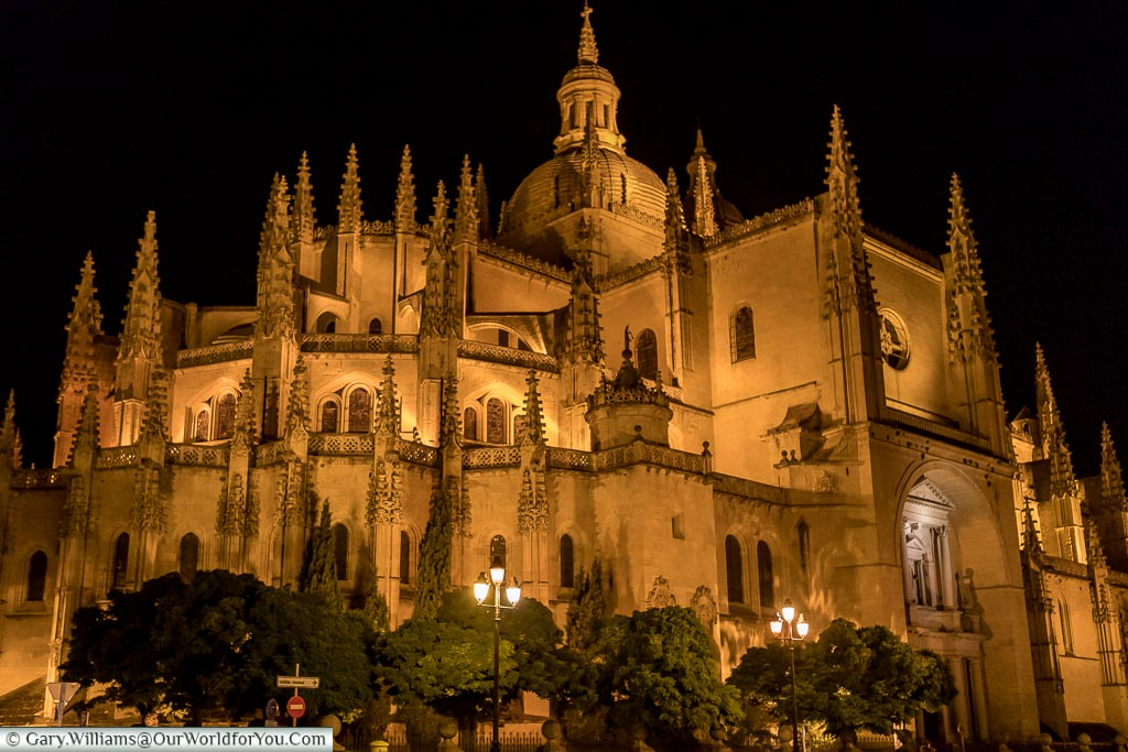The Cathedral at night, Segovia, Spain