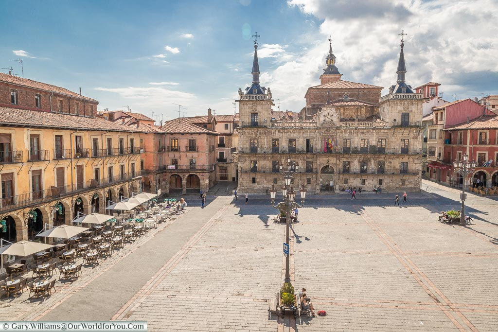 The view from our room over Plaza Mayor, León, Spain