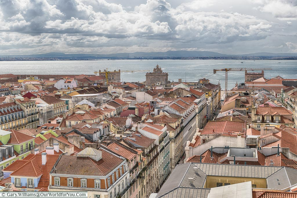 The view from the top of the Elevador de Santa Justa, Lisbon, Portugal