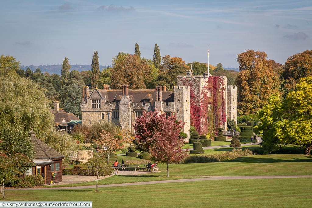 The view across the grounds to Hever Castle, as you approach from the gatehouse.