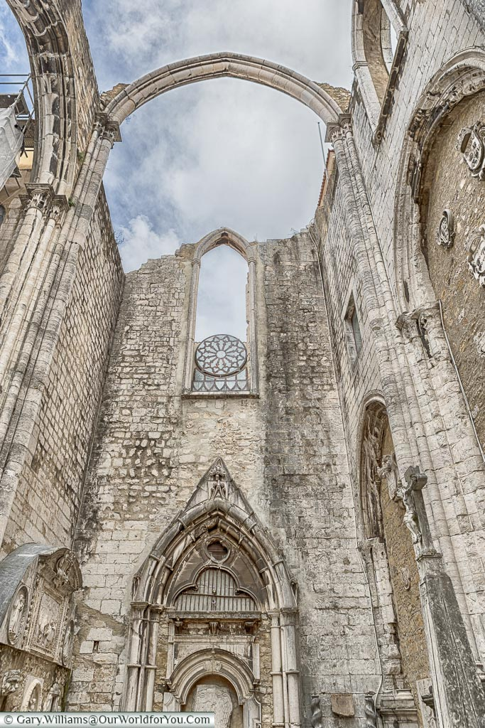 The window at the Carmo convent, Lisbon, Portugal