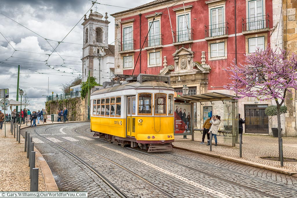 Tram 28 - waiting, Lisbon, Portugal