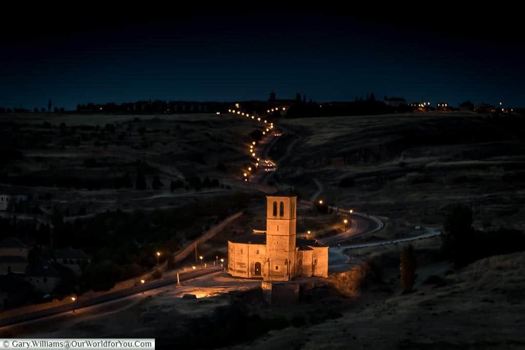 Vera Cruz church at night, Segovia, Spain