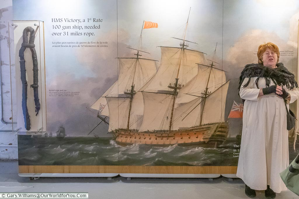 A period tour of the Ropery, Historic Chatham Dockyard, Kent, England, UK