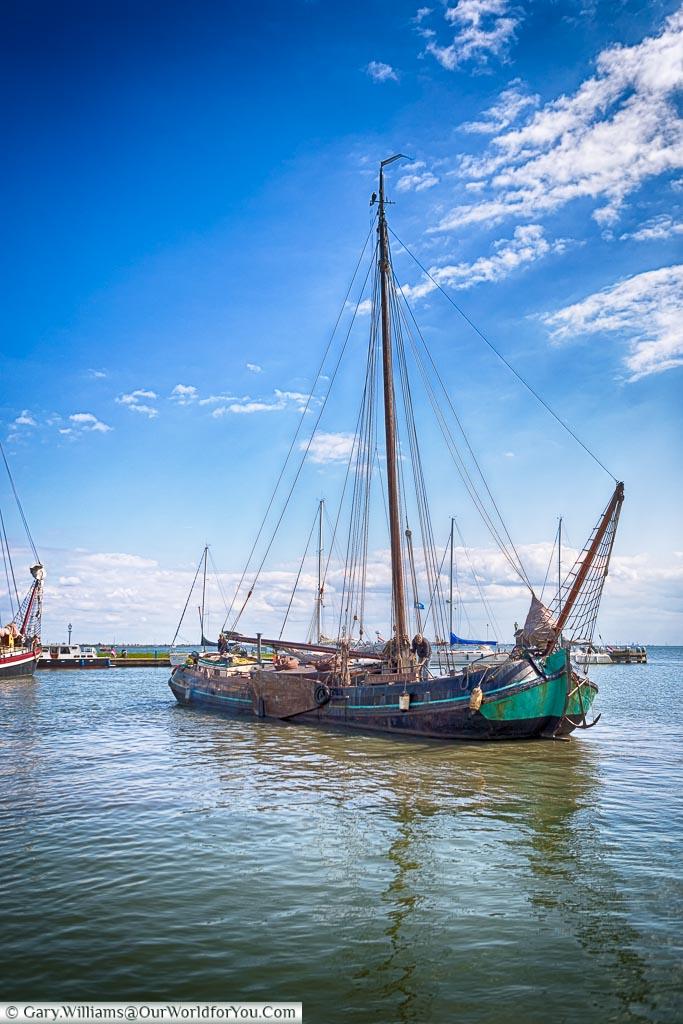 A sailing barge in Volendam harbour, Holland, Netherlands