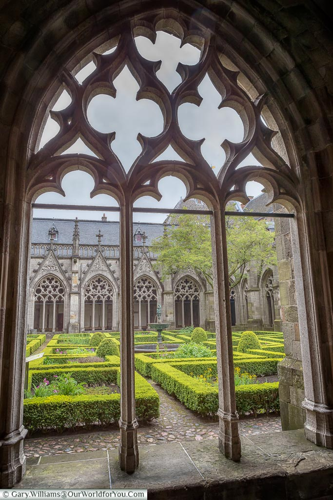 A view into Domkerk Pandhof, Utrecht, Holland, Netherlands