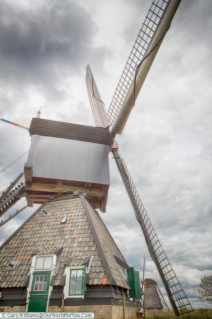 A windmill - up close, Kinderdijk, Holland, Netherlands